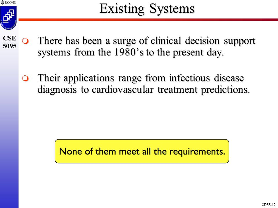 Existing Systems There has been a surge of clinical decision support systems from the 1980's to the present day.