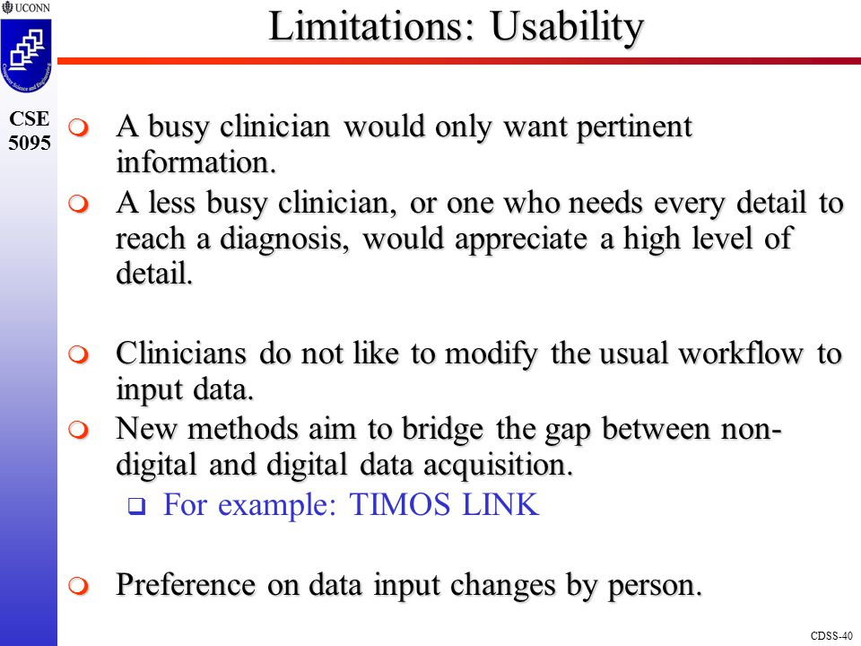 Limitations: Usability