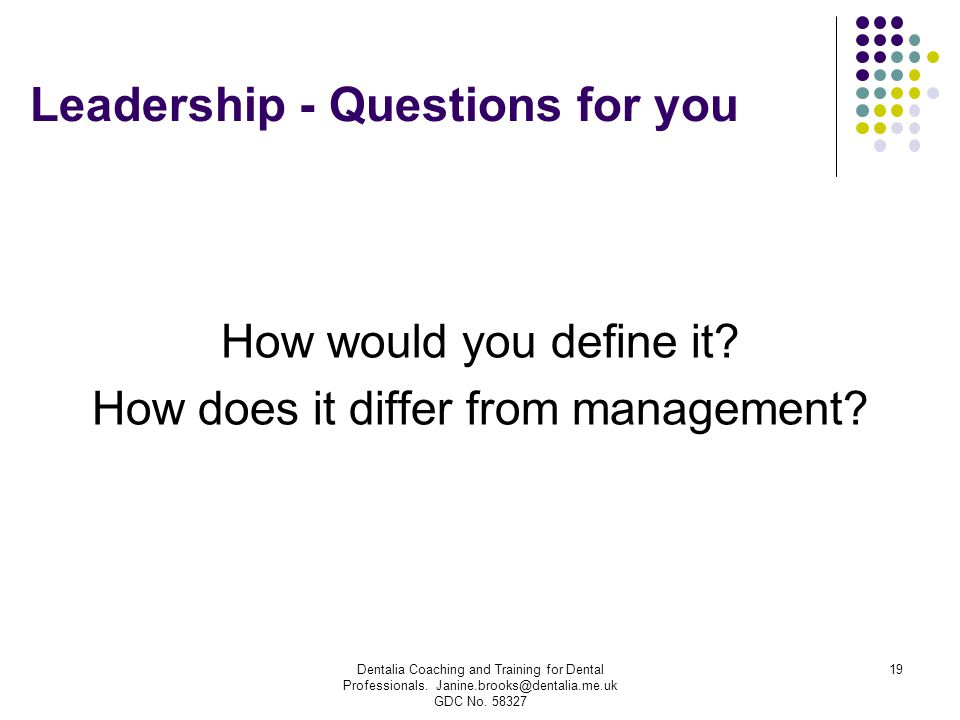 Leadership - Questions for you