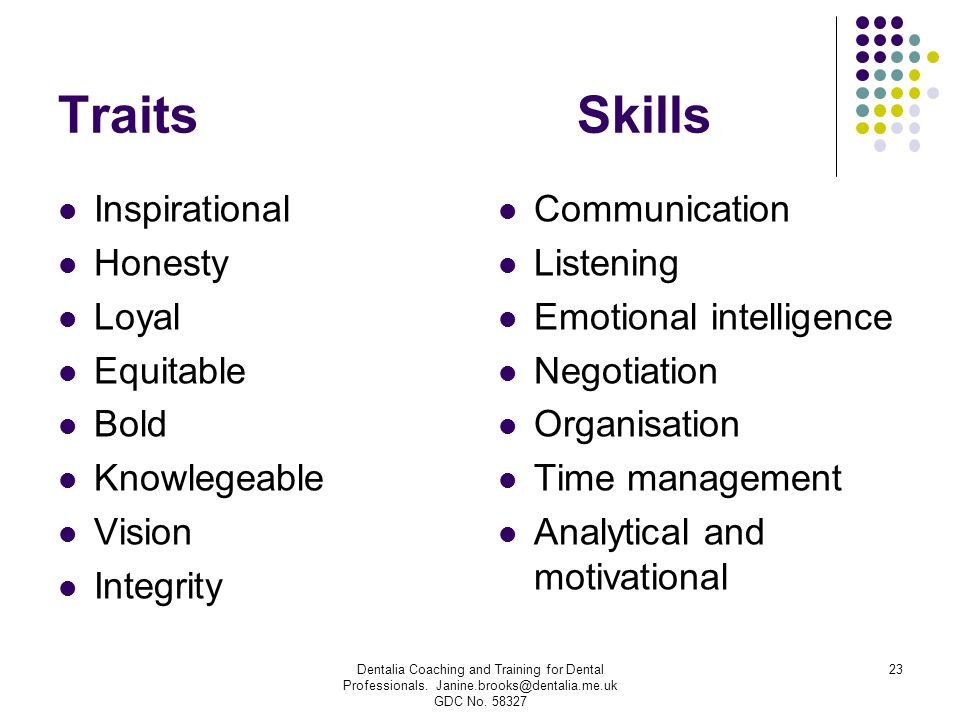 Traits Skills Inspirational Honesty Loyal Equitable Bold Knowlegeable