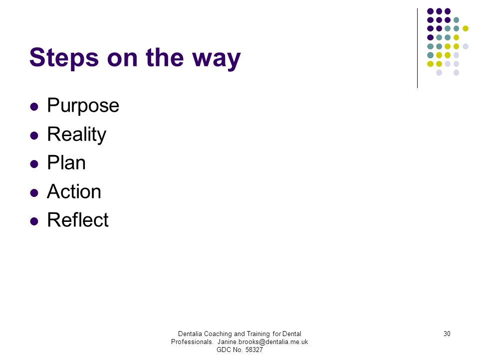 Steps on the way Purpose Reality Plan Action Reflect