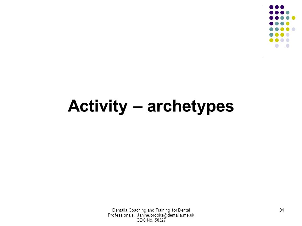Activity – archetypes Dentalia Coaching and Training for Dental Professionals.
