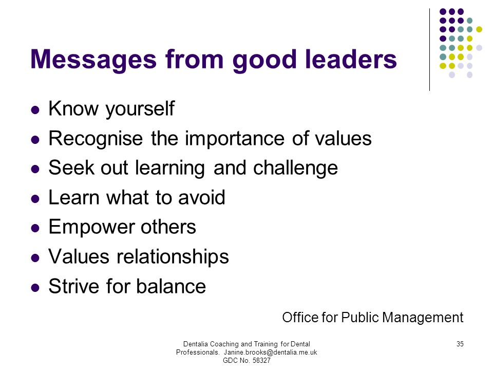 Messages from good leaders