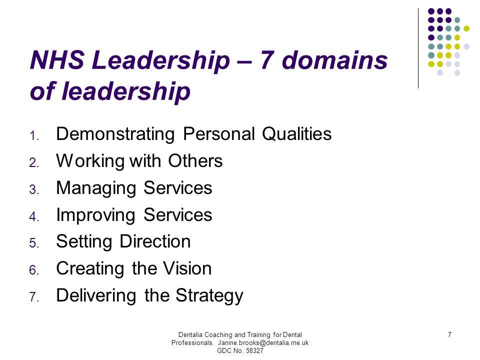 NHS Leadership – 7 domains of leadership
