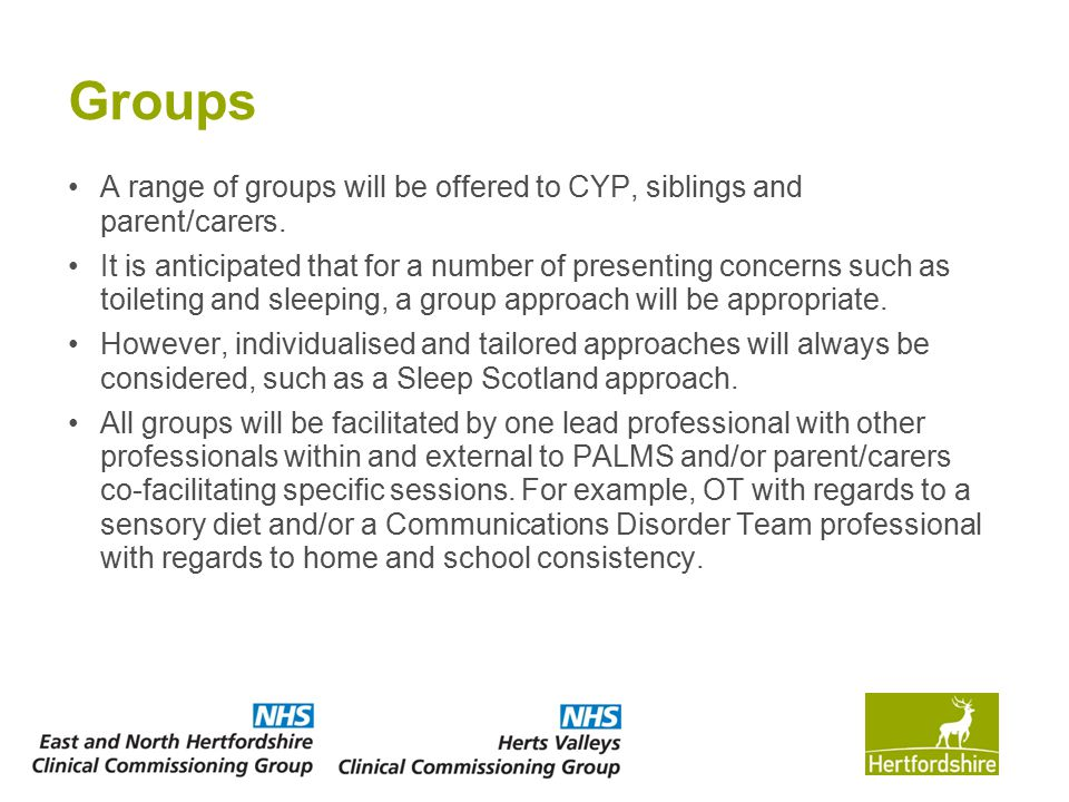 Groups A range of groups will be offered to CYP, siblings and parent/carers.
