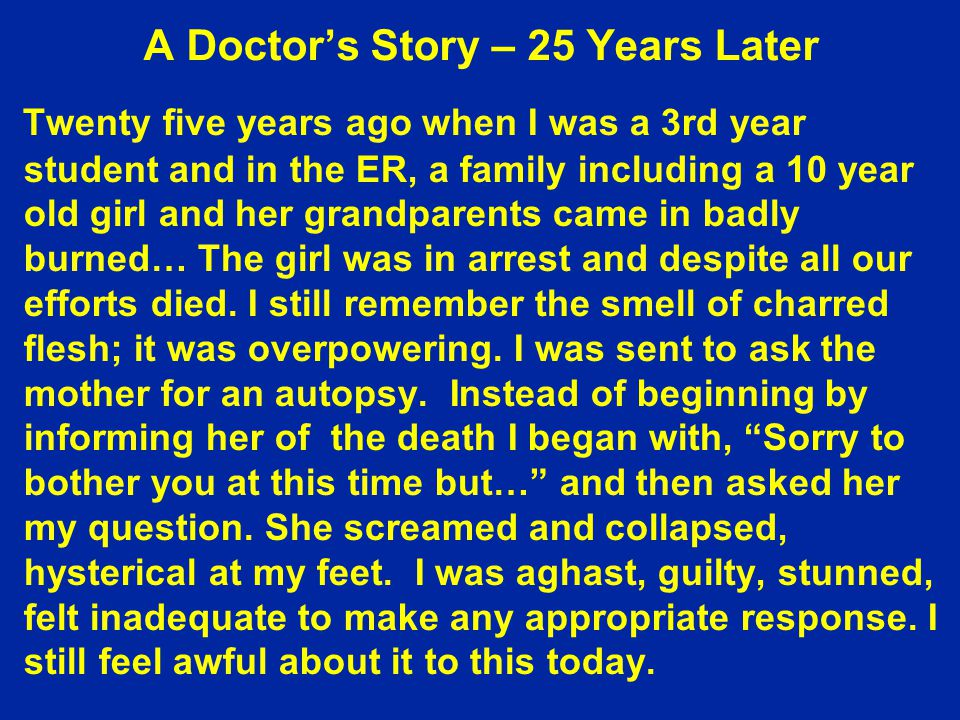 A Doctor's Story – 25 Years Later
