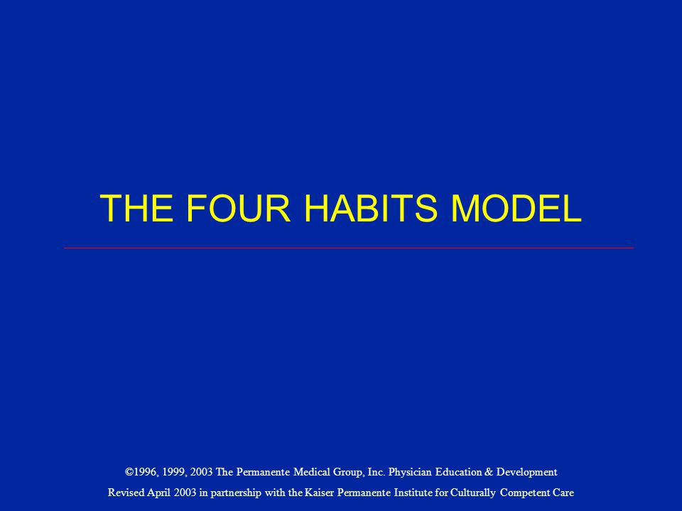 THE FOUR HABITS MODEL ___________________________________________________________________________.