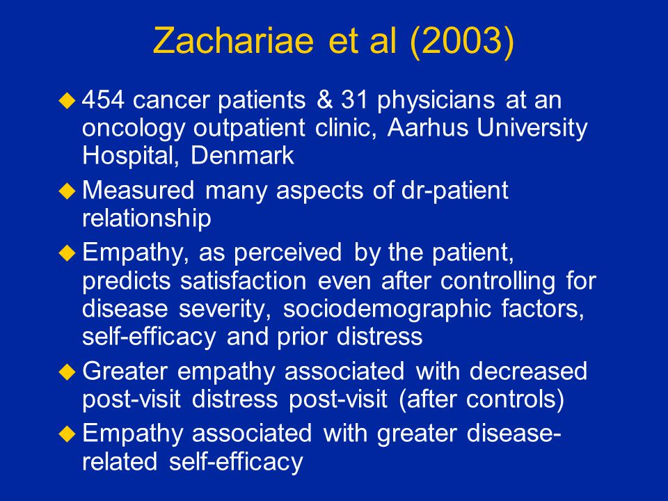 Zachariae et al (2003) 454 cancer patients & 31 physicians at an oncology outpatient clinic, Aarhus University Hospital, Denmark.