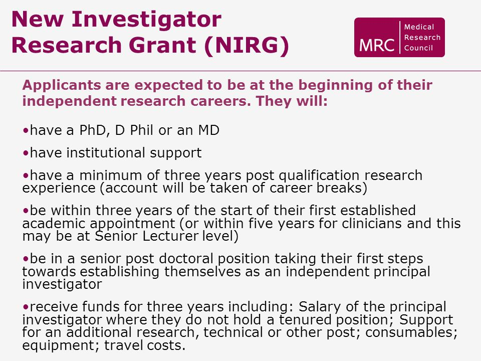 New Investigator Research Grant (NIRG)