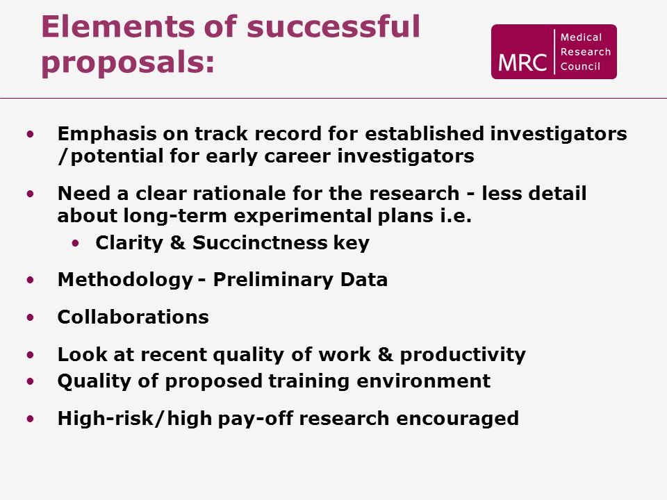 Elements of successful proposals: