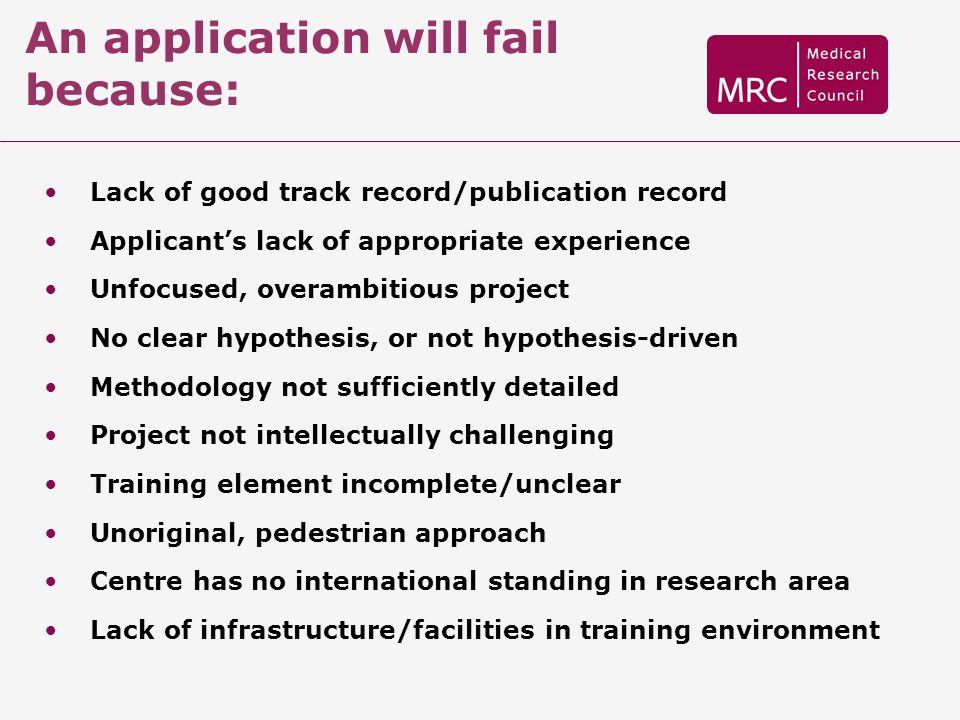 An application will fail because: