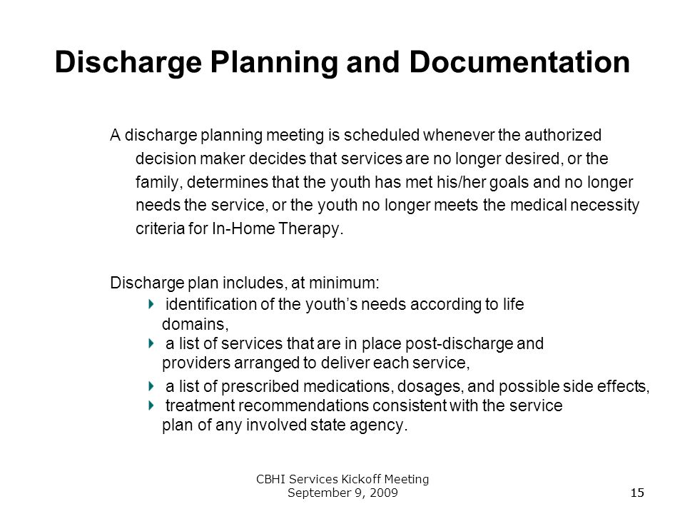 Discharge Planning and Documentation