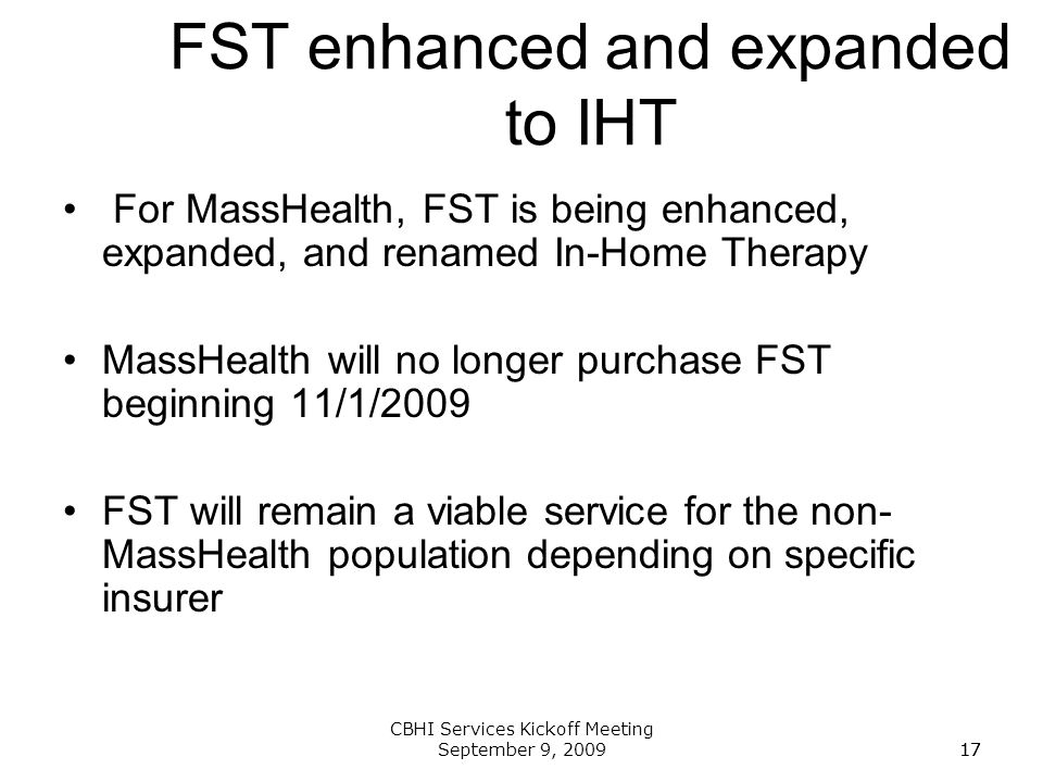 FST enhanced and expanded to IHT
