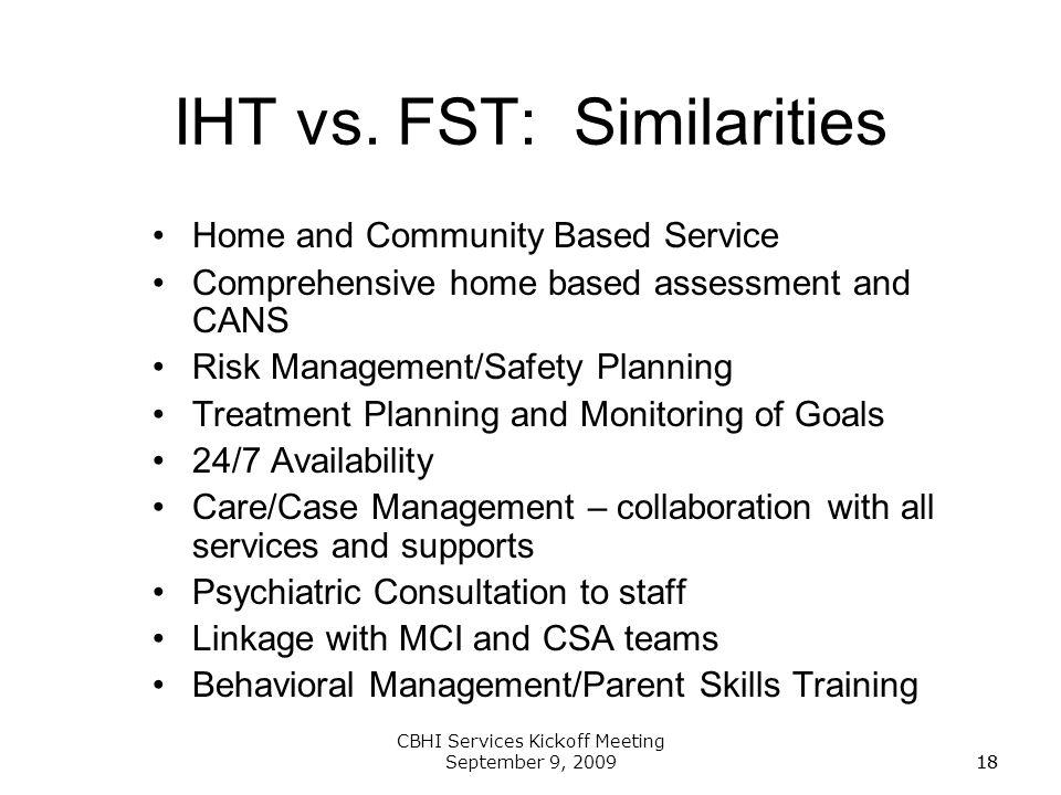 IHT vs. FST: Similarities