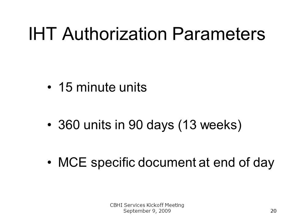 IHT Authorization Parameters
