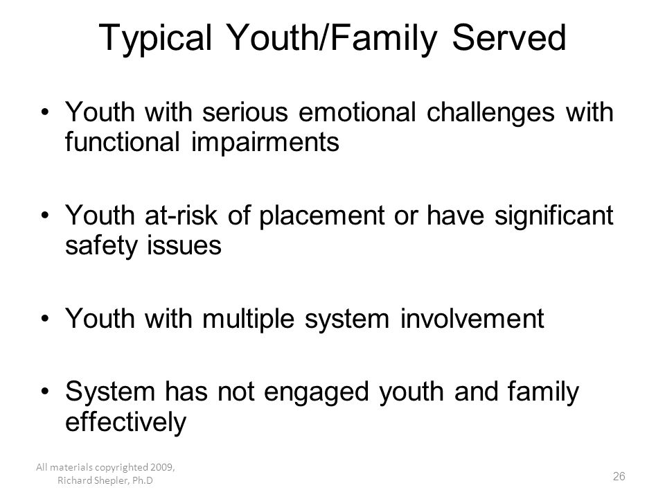 Typical Youth/Family Served