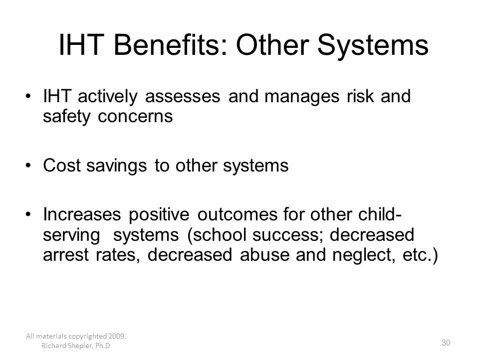 IHT Benefits: Other Systems