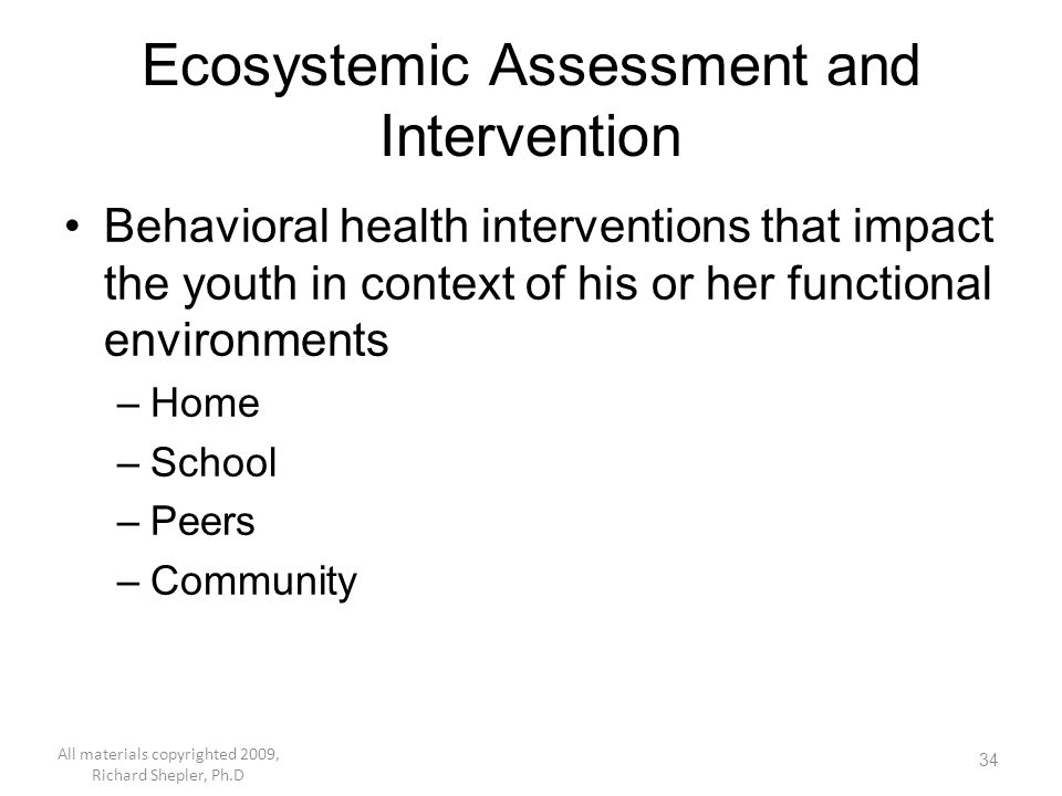 Ecosystemic Assessment and Intervention