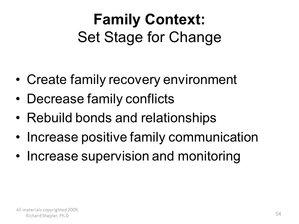Family Context: Set Stage for Change