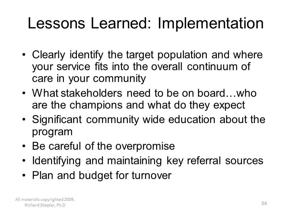 Lessons Learned: Implementation