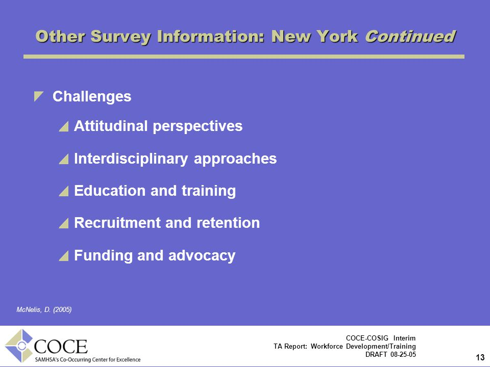 Other Survey Information: New York Continued