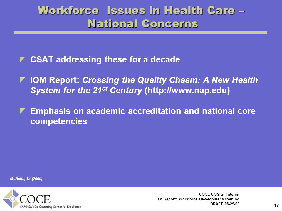 Workforce Issues in Health Care – National Concerns