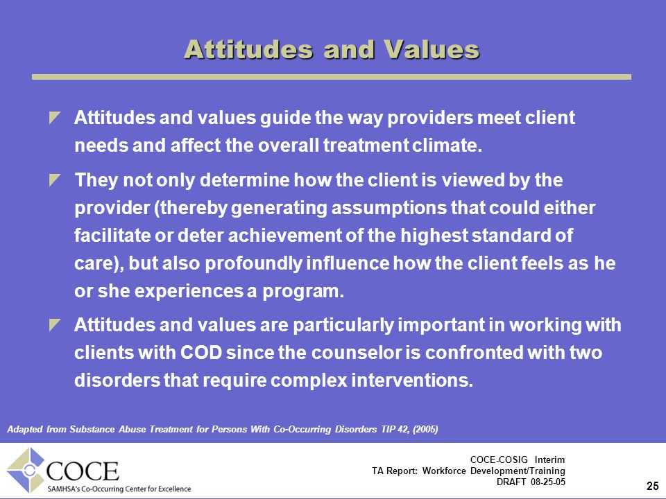 Attitudes and Values Attitudes and values guide the way providers meet client needs and affect the overall treatment climate.