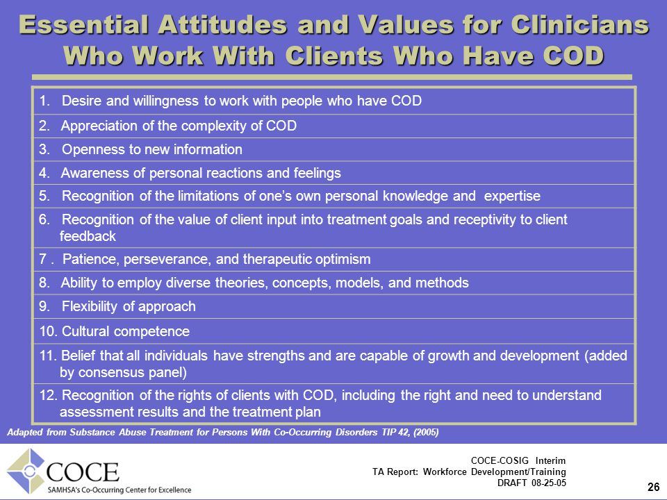 Essential Attitudes and Values for Clinicians Who Work With Clients Who Have COD