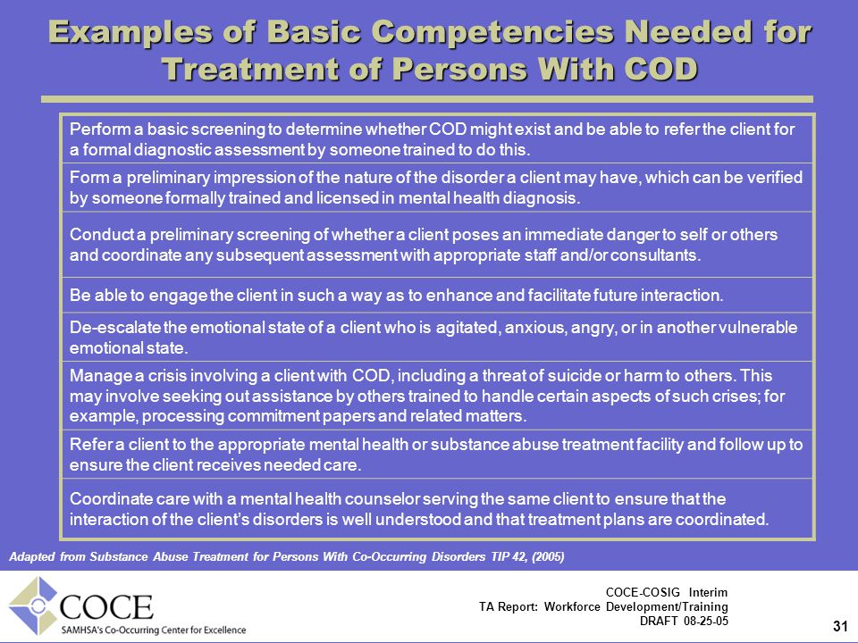 Examples of Basic Competencies Needed for Treatment of Persons With COD