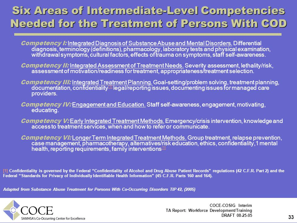 Six Areas of Intermediate-Level Competencies Needed for the Treatment of Persons With COD