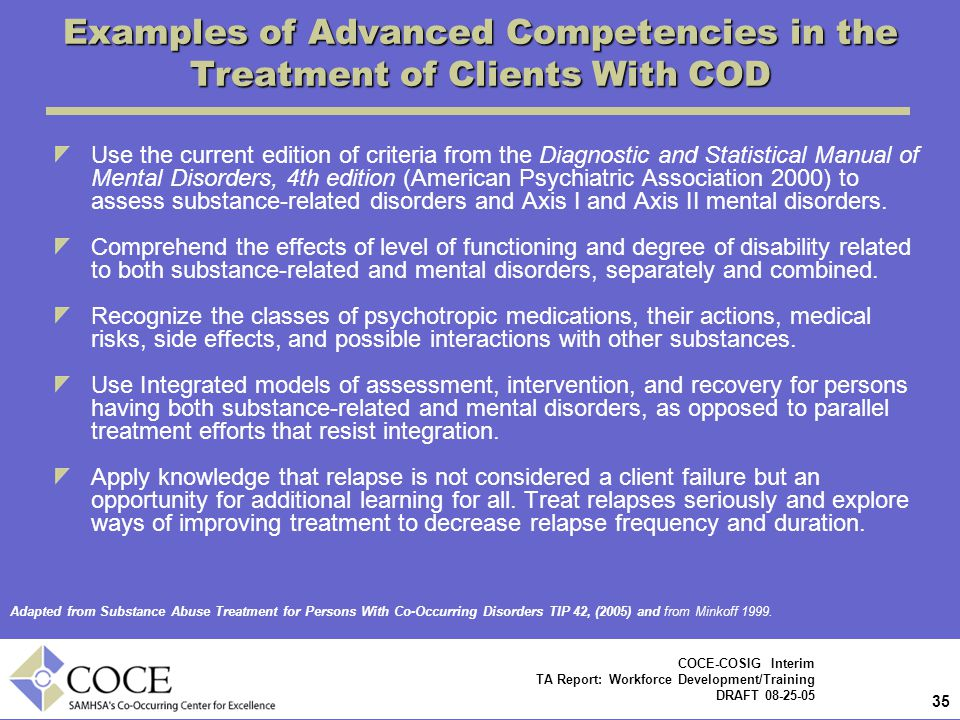 Examples of Advanced Competencies in the Treatment of Clients With COD