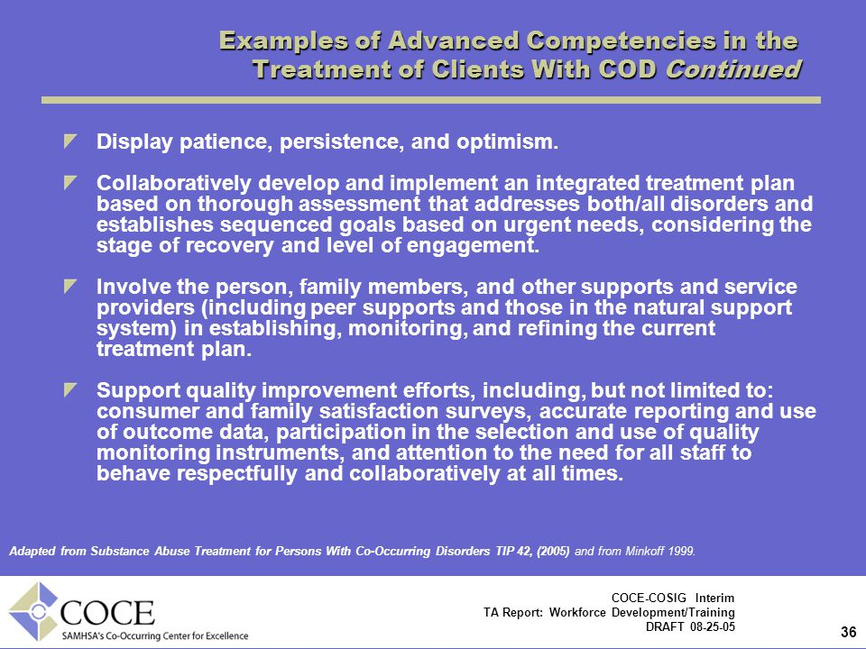 Examples of Advanced Competencies in the Treatment of Clients With COD Continued