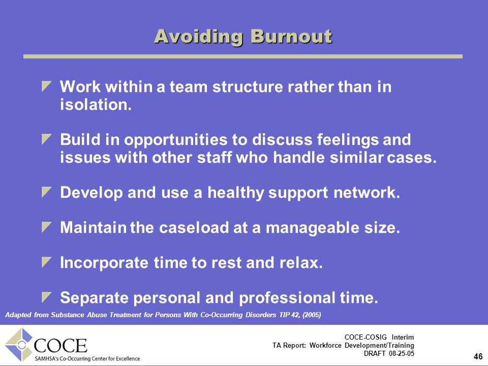 Avoiding Burnout Work within a team structure rather than in isolation.