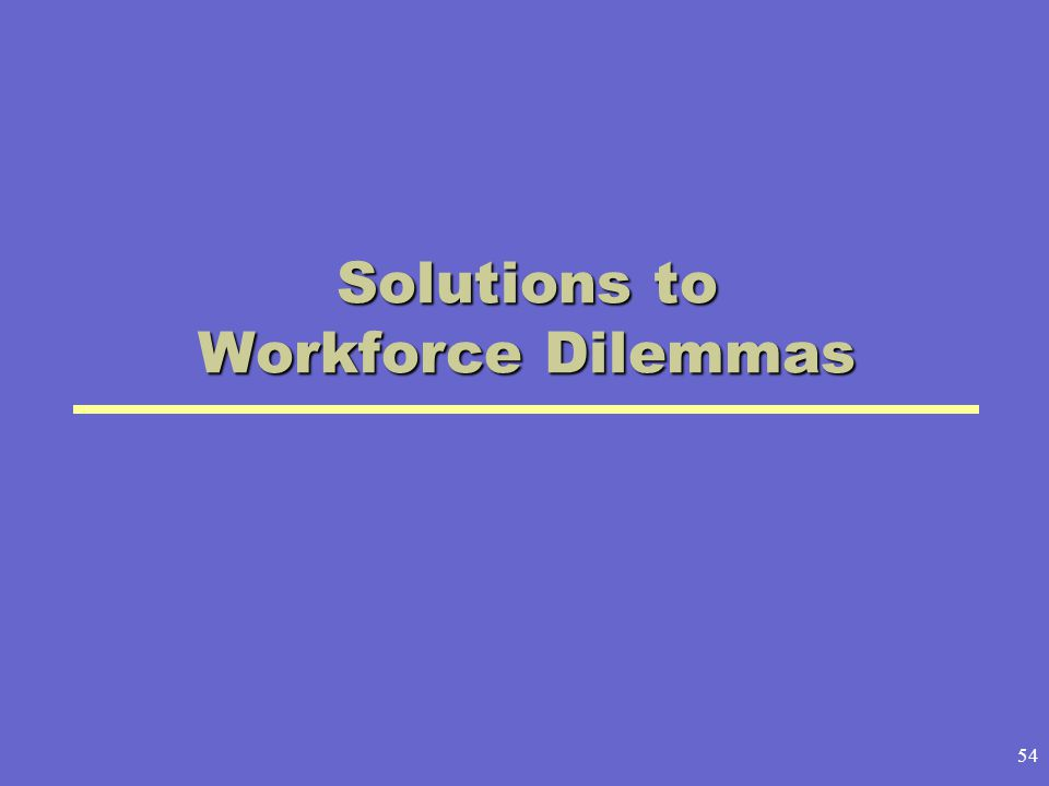 Solutions to Workforce Dilemmas