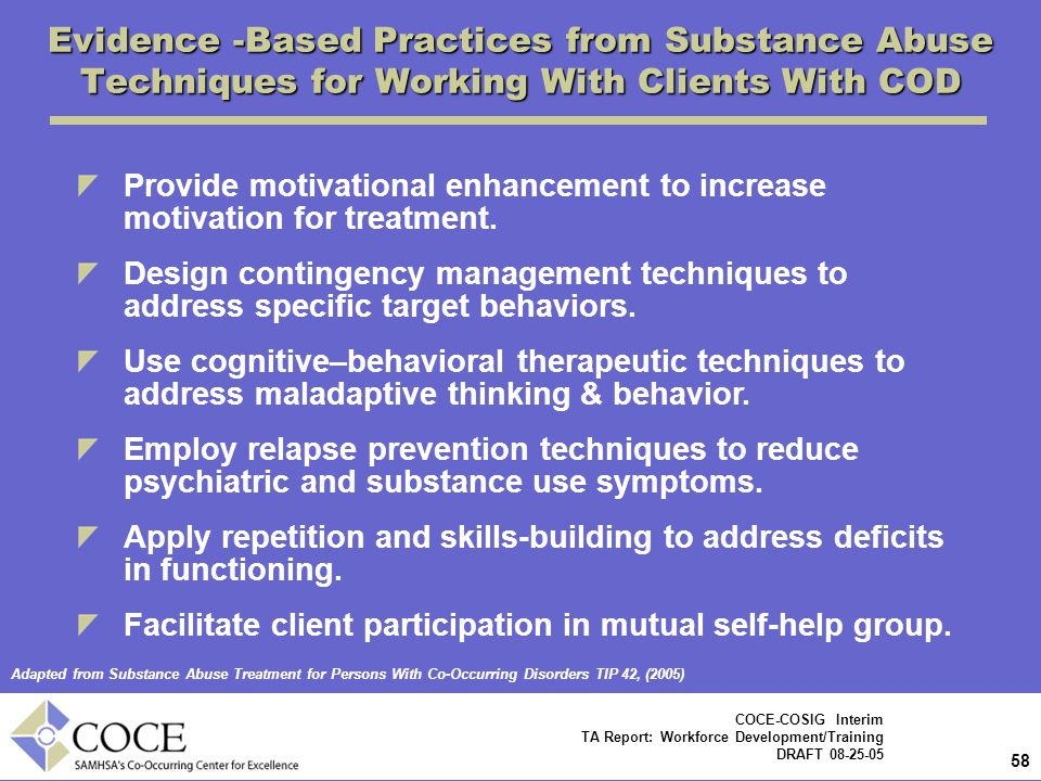 Evidence -Based Practices from Substance Abuse Techniques for Working With Clients With COD
