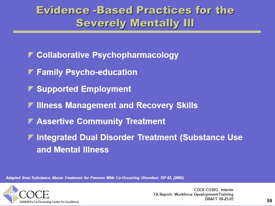 Evidence -Based Practices for the Severely Mentally Ill