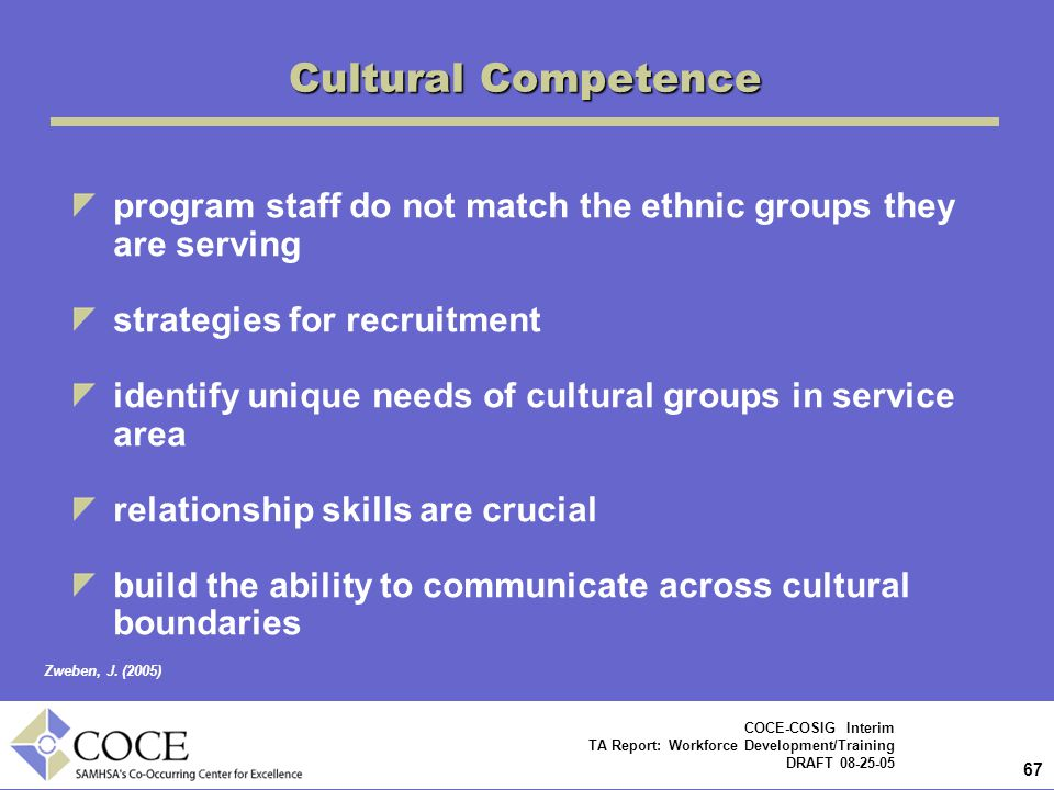 Cultural Competence program staff do not match the ethnic groups they are serving. strategies for recruitment.