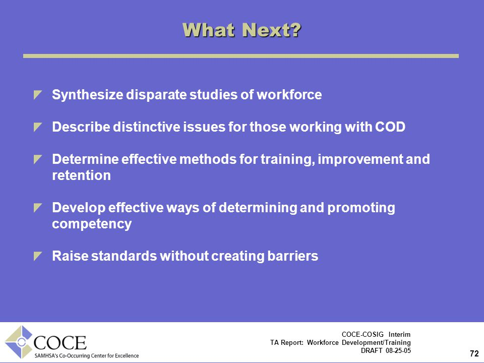 What Next Synthesize disparate studies of workforce