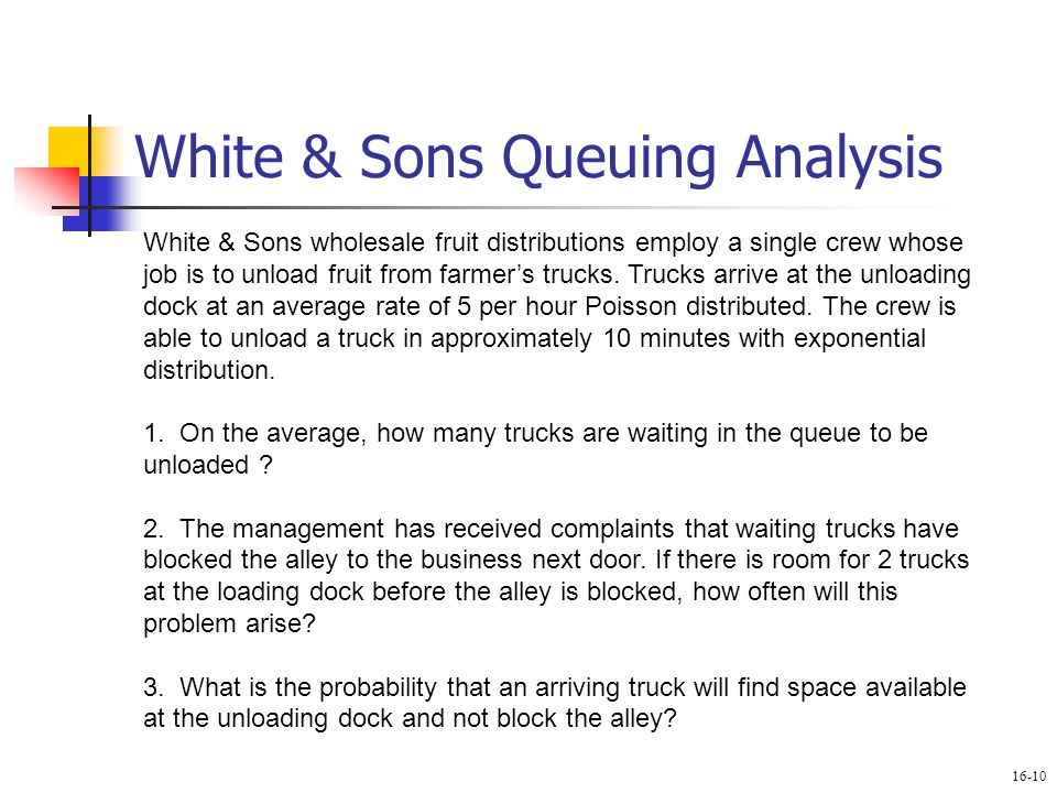 White & Sons Queuing Analysis