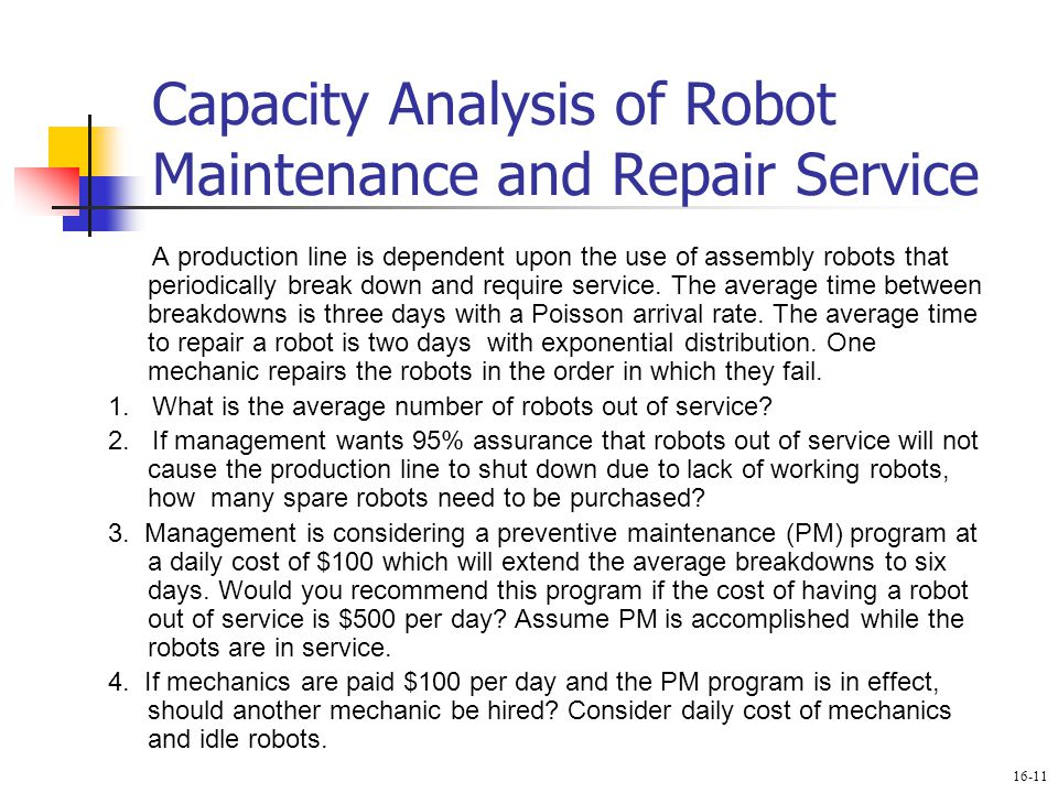 Capacity Analysis of Robot Maintenance and Repair Service