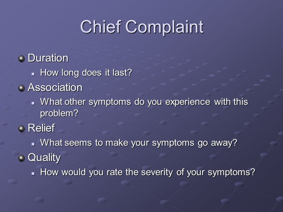 Chief Complaint Duration Association Relief Quality