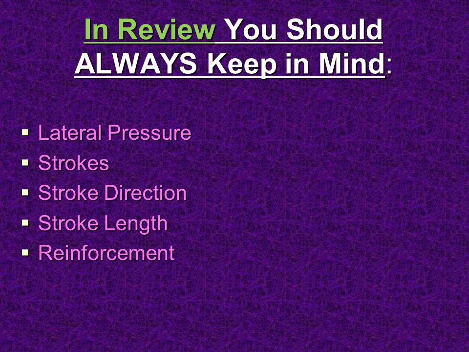 In Review You Should ALWAYS Keep in Mind: