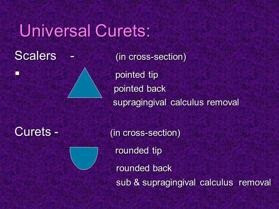Universal Curets: Scalers - (in cross-section) pointed tip