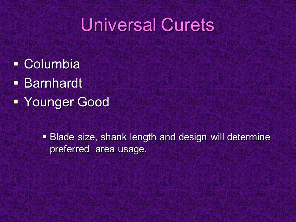 Universal Curets Columbia Barnhardt Younger Good