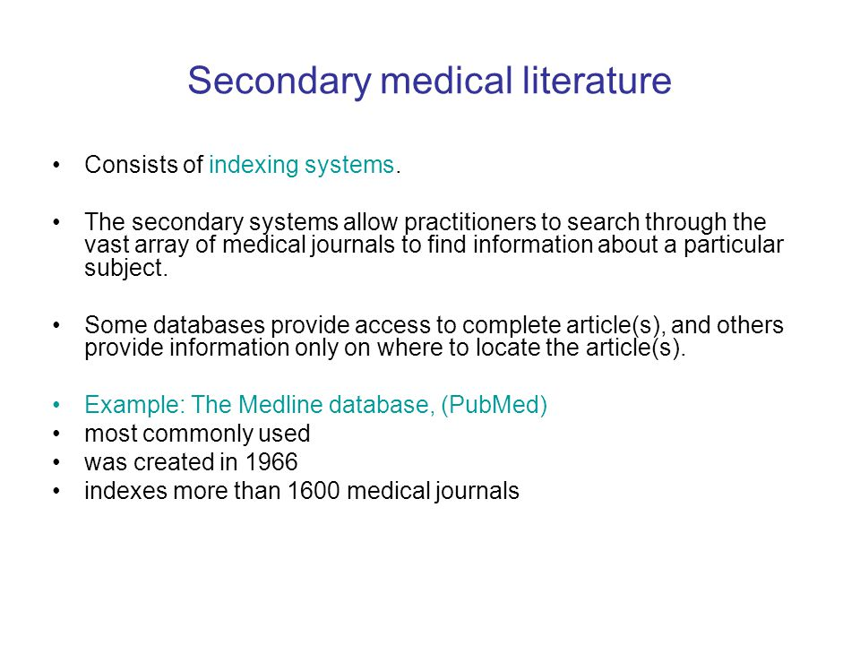 Secondary medical literature