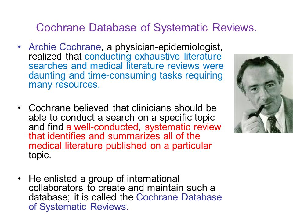 Cochrane Database of Systematic Reviews.