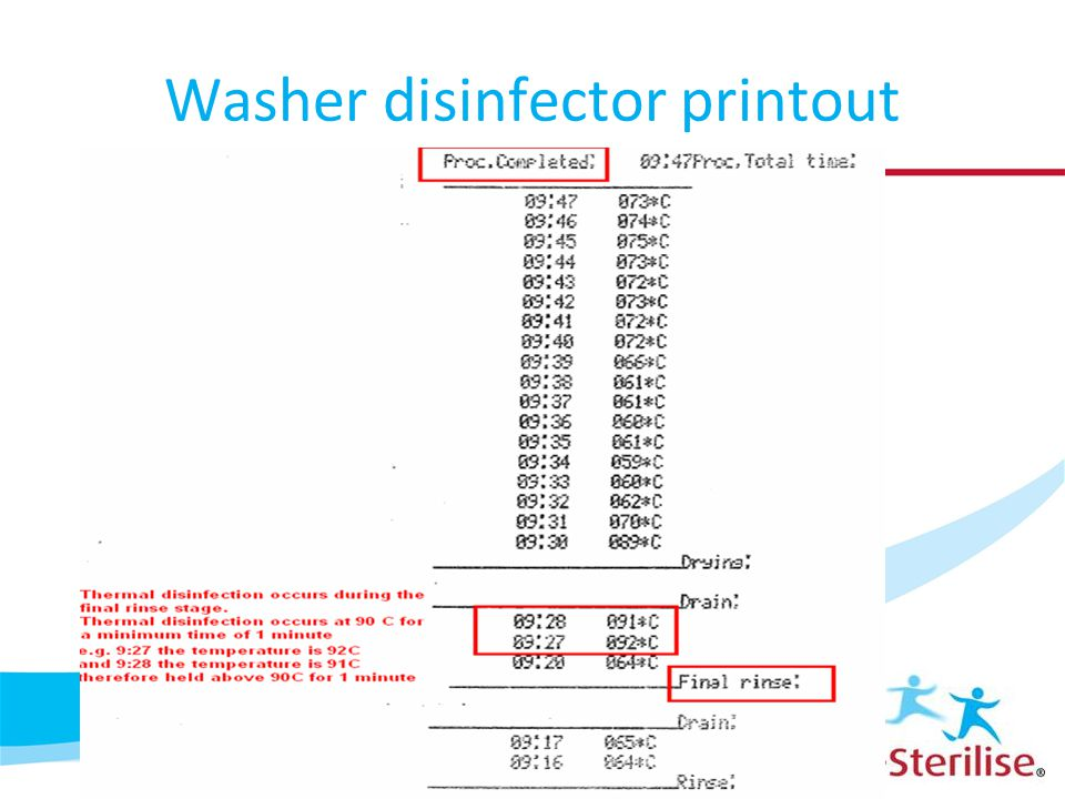 Washer disinfector printout
