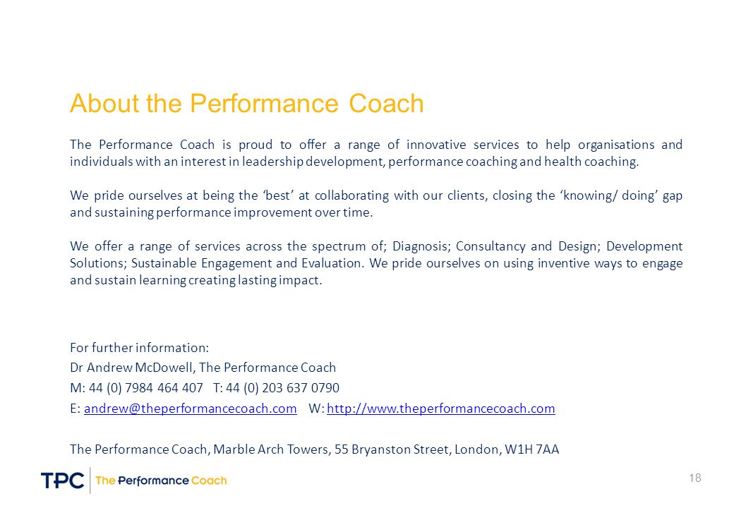 About the Performance Coach