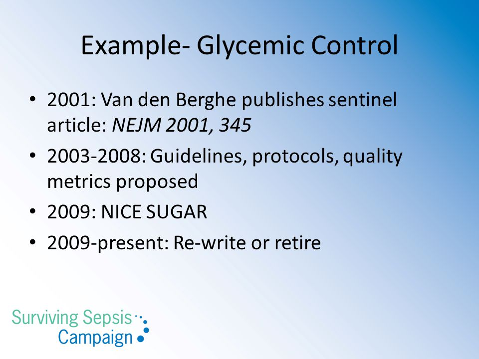 Example- Glycemic Control