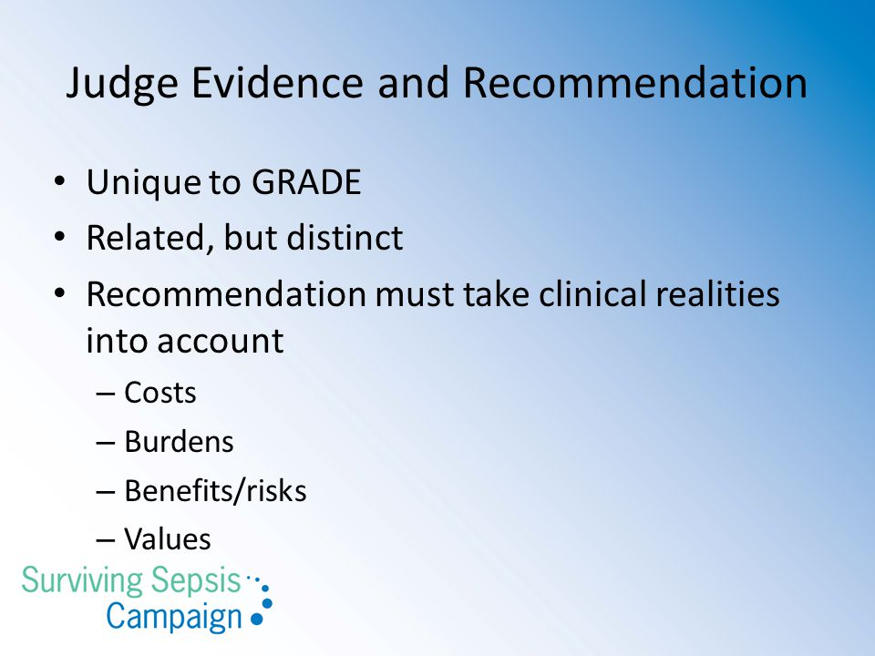 Judge Evidence and Recommendation